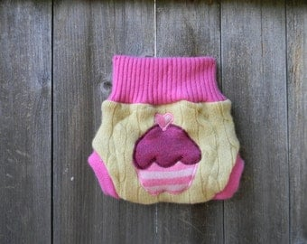 Upcycled Wool/ Cashmere Soaker Cover Diaper Cover With Added Doubler Yellow/ Pink  With Cupcake Applique NEWBORN 0-3M Kidsgogreen