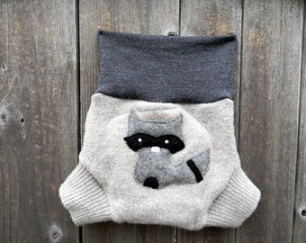 Upcycled Wool Soaker Cover Diaper Cover With Added Doubler Gray/ Black With A Sneaky Raccoon  Applique MEDIUM 6 - 12M Kidsgogreen