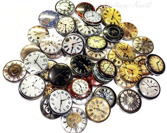 "Clocks, 1"" Buttons, Clock Buttons, Clock Pins, Clock Flatbacks, Clock Supply, Time, Clock Theme, Clock Party Favor, Clockface, Antique Clock"