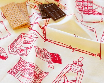 Tea Towel - Kitchen Towels - Screen Printed Flour Sack Towel - Tea Towel Set - Tea Towel Flour Sack - Dish Towels - Camping - Smores - Towel