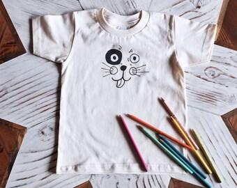 Kids Tshirt - Organic Cotton Toddler Shirt - American Apparel Kids Shirt - Screenprint Tshirt - Toddler Tee - Hipster Kids Clothes - Puppy
