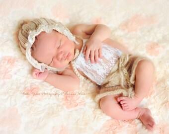 Beige Lace Front Mohair Knit Romper Newborn Photography Prop