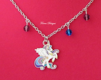 My Little Pony FIM Princess Celestia Pendant Necklace Custom made with Swarovski Crystals by Torres Designs OOAK One of a Kind Ready To Ship