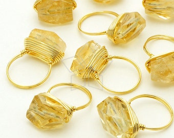 GS-111-GD / 2 Pcs - Mini Gemstone Ring Charm Pendant, Wire Wrapped Nugget (Citrine), Gold Plated Brass Wire / 8mm x 17mm