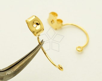 EA-175-GD / 4 Pcs - Ear Studs Back Stoppers with Loop, Ear jacket, Gold Plated over Brass / 18mm