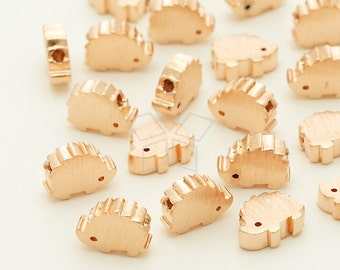 ME-242-RG / 2 Pcs - Mini Hedgehog Charms, Hedgehog Metal Beads Spacers, Rose Gold Plated over Brass / 7mm x 5.5mm
