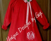 Classic vintage Red Corduroy monogrammed Christmas dress