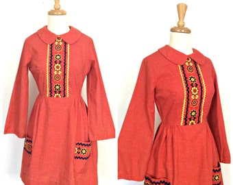 1960s Mini Dress - boho dress - embroidered folk dress - alternative wedding - hippie chic - S