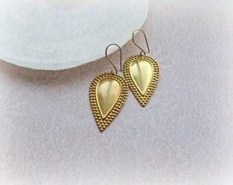 Teardrop earrings, Beaded Border Teardrop earrings, Brass Teardrop earrings