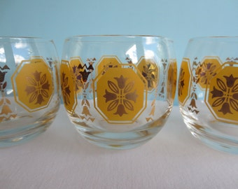 Vintage Gold and Yellow Roly Poly Glasses - Set of 4