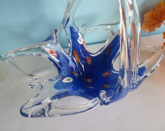 Vintage Hand Blown Art Glass Basket - Murano Glass Basket - Italy
