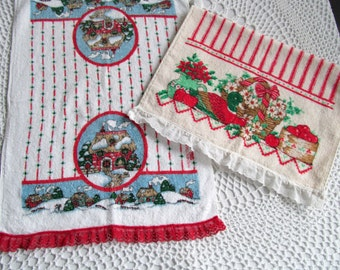 Vintage B & D Cannon Christmas Towels Dish or Hand Towels Terry Cotton Set of 2 Goose Cottage Design