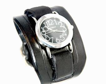 Leather Watch Cuff - Black