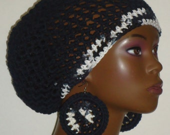 100% Cotton Crochet Beret Cap Hat Tam and Earrings by Razonda Lee Razondalee Ready to Ship