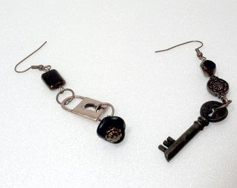 Unique Lock and Skeleton Key Steampunk Mismatch Earrings Clearance