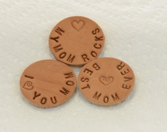 Choice Of One Hand Stamped Personalized Mom Leather Pads for 30mm 316L Stainless Steel Aromatherapy Lockets