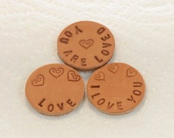 Choice Of One Hand Stamped Personalized Love Leather Pads for 30mm 316L Stainless Steel Aromatherapy Lockets