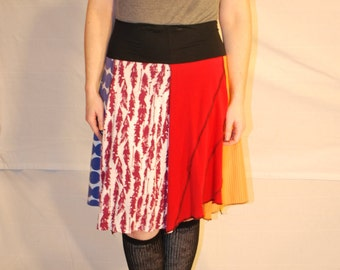 Recycled tee shirt skirt  with yoga pant style waistband size large L0092