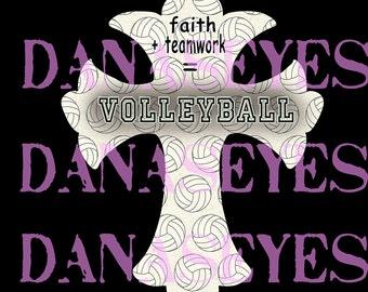Volleyball Christian Cross- Digital Download- Printable