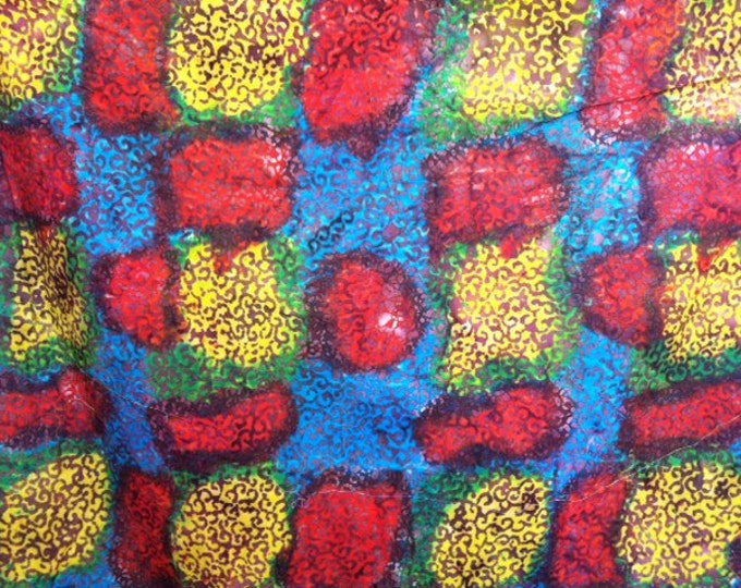 Red Blue Yellow Hand dyed batik fabric quilt fabric by the yard Fat quarter 100% cotton fabric yardage