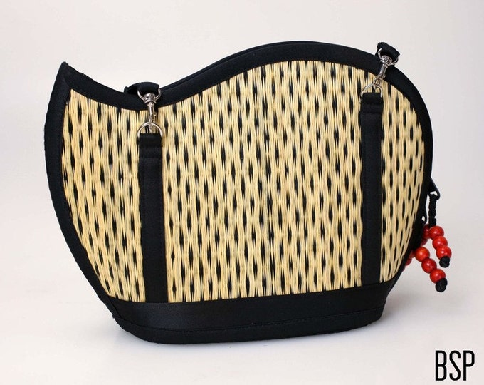Handmade black purse woven grass not bamboo wave shape crossbody or over the shoulder BSP