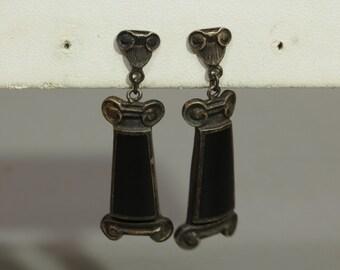 Sterling Silver Onyx Earrings Vintage Post Back Mexican Silver Earrings