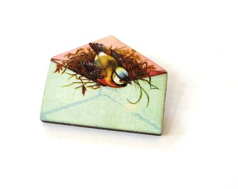 bird nest envelope brooch . antique inspired love letter pin