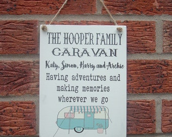 Family Caravan wooden sign plaque personalized