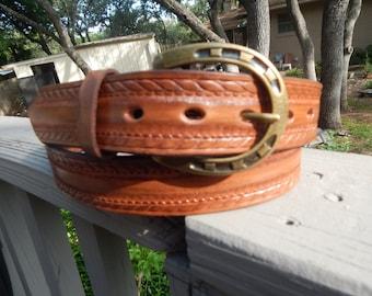Western Embossed Leather Belt w/ Horseshoe Buckle
