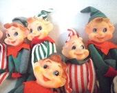 10 Japan Christmas Elf Figurines Knee Hugger Elves Red Green White Striped
