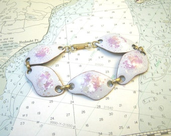 White & Pink Enamel on Copper Link Bracelet Retro 1960s Amoeba Shapes Abstract