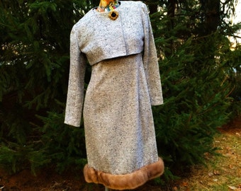 60s Mink Trimmed Dress with Cropped Jacket                                       International shipping