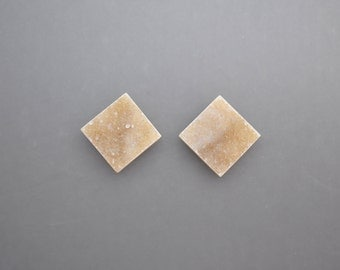 Natural Drusy Cabochon Pair