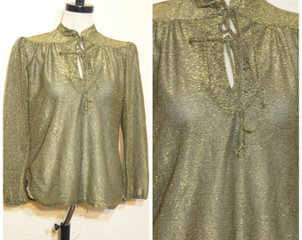 70s Gold Metallic Blouse Semi Sheer Medium Tie Collar Keyhole Neckline Disco Retro