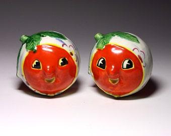 Vintage Tomato Head Salt & Pepper Shakers - Anthropomorphic - circa 1950's