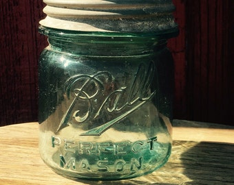 Vintage Blue Ball Perfect Mason Jar Half Pint