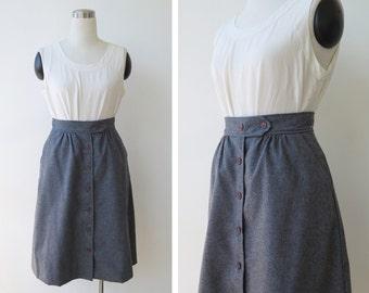 1970s vintage grey wool skirt xs small, high waist skirt, button front A line skirt