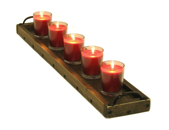 Candle centerpiece tray wooden holder by