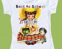 Mary had a Little Lamb, Back to School, Girls clothes, Vintage Storybook, Girls school T-Shirt, Birthday shirt, Kindergarten, 1st grade