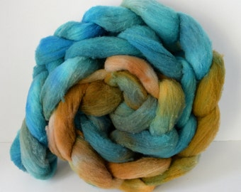 Targhee Roving Copper and Turquoise, Spinning Wool, Great for felting #R2