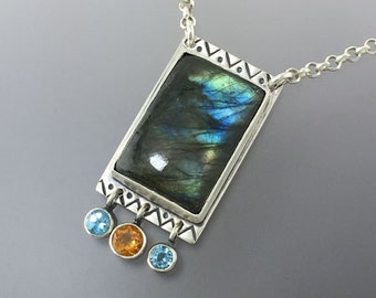 Luscious Blue Labradorite with Yellow Orange Citrine and Sky Blue Topaz in a Sterling Silver Pendant, One of a Kind,  Ready to Ship