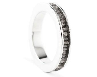 Silver Wedding Band Grey Uncut Raw Diamond Ring Man Woman Custom Jewelry