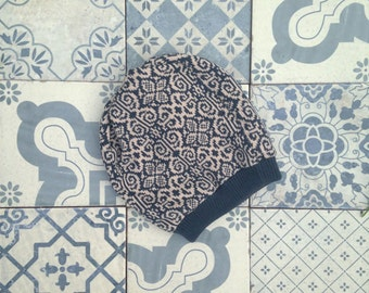 Knit Hat Double sided Beanie Unisex patterned reversible navy