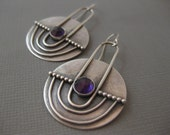 Reserved  Modern Sterling Silver Contemporary Disk Earrings with Amethyst