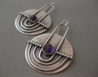 Modern Sterling Silver Contemporary Disk Earrings with Amethyst