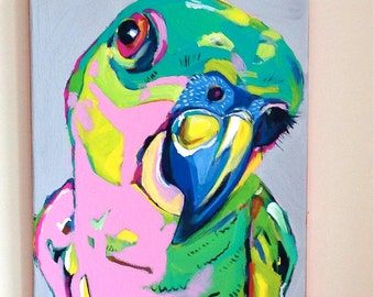 "Parrot Chick - Tropical Bird # 2 - OOAK Original Acrylic Painting 14"" x 11"" - Parrot Painting - Urban Jungle / Tropical Painting"