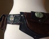 Reserved for Nicolee, custom made Radwear Pocket Belt in brown and black with owl and 5 pockets