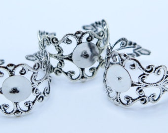5PCS Antique Silver Filigree Ring Blanks, Ring Blanks, Ring Supplies, Diy Rings, 10mm Blank Pad, Adjustable Rings, Zardenia