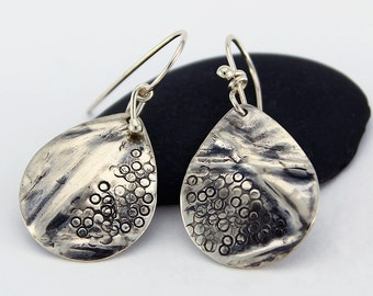 Handcrafted Sterling Drop/Dangle Earrings Fold Formed Hand Stamped One of a Kind  Contemporary Artisan Jewelry Design 9868488553015