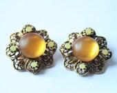 Vintage golden glass earrings.  Crystal earrings.  Clip on earrings